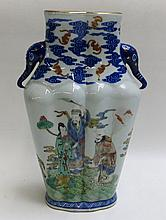 CHINESE DOUCAI PORCELAIN DOUBLE VASE, decorated in combination blue underglaze and multi-color overglaze enamel figures, the neck with stylized blue elephant head handles, the rimfoot with single line, blue underglaze, Jiaqing (1796-1820) reign mark.