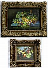 TWO STILL LIFE OIL PAINTINGS ON CANVAS, each a colorful gathering of fruit on table, canvas dimensions 16 x 20 and 24 x 36 inches, both unsigned and ornately framed.