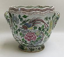 CHINESE HAND ENAMELED PORCELAIN WINE COOLER, footed and split handled with scalloped rim, having peony and pheasant motif.  Height 8.5 inches.