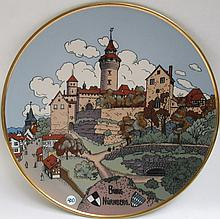 METTLACH ETCHED POTTERY PLAQUE #3183, Town of Nurnberg, incised Mettlach logo verso, 1885-1930.  Diameter 17.5 inches.