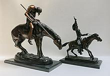 TWO PATINATED BRONZE SCULPTURES, the first after Russell titled
