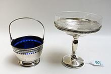 TWO STERLING SILVER HOLLOWWARE WITH GLASS LINERS: a compote, by M. Fred Hirsch Co., with engraved clear class liner, 5.75