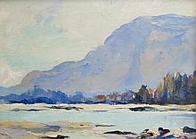 JULES DAHLAGER OIL ON BOARD (Alaska, 1884-1952)  River landscape with mountains in the background.  Image measures 5.5