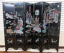 SIX-PANEL COROMANDEL FLOOR SCREEN, Chinese, 20th century, one side featuring a scene of 10 maiden figures on clouds approaching the emperor and empress, incise carved into black lacquer and hand painted.  Individual panel dimensions:  72