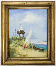 NYYE OIL ON ARTIST BOARD, the painting depicting a figure with boat at water's edge stoking a fire, in wood frame.  Work measures 8 x 10
