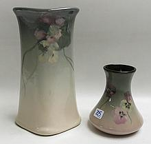 TWO WELLER EOCEAN ART POTTERY VASES, with hand painted floral motif, each incised Eocean, Weller underfoot.  Heights:  5.5 and 10.5 inches.