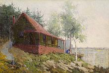 HAMILTON HAMILTON OIL ON CANVAS (Connecticut/California, 1847-1928) Cabin at the lake with a small fire and a woman with canoe.  Image measures 10.5