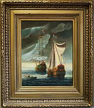 R. VAN OPPEM OIL ON CANVAS, Dutch Navy tall ships, 20th century.  Image measures 18.5
