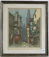 HAND COLORED FRENCH ETCHING with a cobble stone street scene at night of the Rouen Cathedral titled