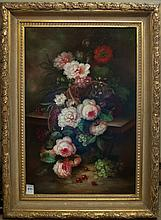CONTINENTAL SCHOOL STYLE OIL ON CANVAS, floral still-life.  Image measures 36