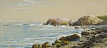 EDMUND DARCH LEWIS WATERCOLOR AND GOUACHE ON BOARD (Pennsylvania, 1835-1910) Ships at sea on a rocky coast.  Image measures 9.5