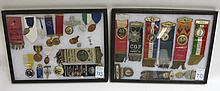 COLLECTION OF RELIGIOUS MEDALS, PINS, BADGES AND RIBBONS from various Lodge and Grange societies  in Princeton MN, Norwich CT, San Pablo CA and various Oregon locations all in covered Riker case, 28 pieces.