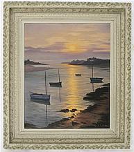 ROGER DE LA CORBIERE OIL ON BOARD (France, 1903-1974) Sailboats at sunset.  Image  measures 21.25