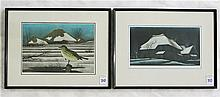 TWO KOICHI SAKAMOTO (JAPANESE, B 1932) ETCHING/MEZZOTINTS: 1) a house in snow country, limited edition #33/50, image 7.75 x 14 inches, artist pencil signed lower right margin; 2) bird and rooftops in snow country, 9.5 x 14 inches, limited edition