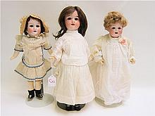 THREE GERMAN BISQUE SOCKET HEAD DOLLS, Max Oscar