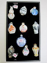 TEN ORIENTAL SNUFF BOTTLES made of metal,