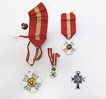 FOUR ENAMELED MEDALS, German world war two bronze