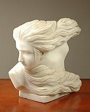 WHITE CARVED MARBLE PORTRAIT BUST of a young woman