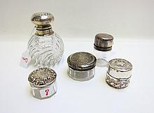 FIVE STERLING SILVER LIDDED DRESSER ACCESSORIES:
