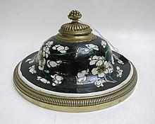 CHINESE POTTERY ENAMEL GLAZED INKWELL of bell-shap