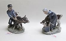 TWO ROYAL COPENHAGEN PORCELAIN FIGURINES of a woma