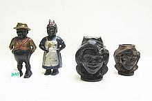 FOUR BLACK AMERICANA CAST IRON STILL BANKS, A.C.