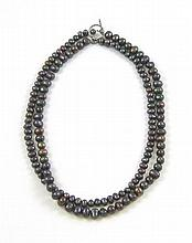 PRINCESS LENGTH BLACK PEACOCK PEARL NECKLACE
