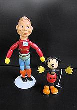 TWO WOODEN TOYS: Mickey Mouse, a Fun-e-Flex Toy,