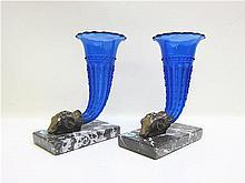 PAIR OF COBALT BLUE VASES, bronze figural ram