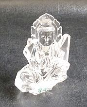 CHINESE ROCK CRYSTAL BUDDHA PAPERWEIGHT. Height 4