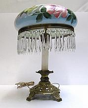 HAND PAINTED DOME LAMP WITH PENDALOGUES featuring