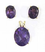 THREE ARTICLES OF AMETHYST JEWELRY, including a