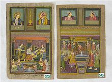 TWO PERSIAN MANUSCRIPT LEAVES depicting a palace