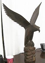 AN ORNITHOLOGICAL ROSEWOOD SCULPTURE, an American