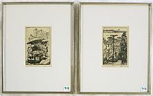 HARRIET ROUDEBUSH, TWO ETCHINGS (California/Oregon