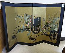 JAPANESE FOUR-PANEL FOLDING WALL SCREEN, hand pain