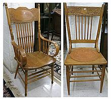 TWO PAIR OF AMERICAN PRESS-BACK CHAIRS, American,