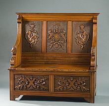 CARVED MAHOGANY SETTLE WITH LIFT SEAT, Scottish,