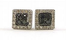 PAIR OF FOURTEEN KARAT WHITE GOLD AND DIAMOND