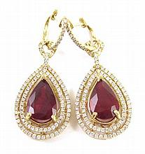 PAIR OF RUBY AND DIAMOND EARRINGS, each 14k yellow