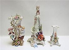 THREE DRESDEN STYLE PORCELAINS, figural