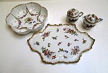 MEISSEN STYLE PORCELAIN BOWL AND FRENCH TRAY WITH