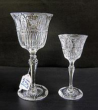 CUT CRYSTAL STEMWARE SET, seventeen pieces, clear