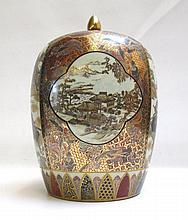 CHINESE SATSUMA STYLE LIDDED STORAGE JAR featuring