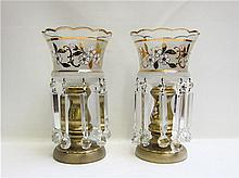 PAIR OF GILT AND ENAMEL GLASS LUSTERS having