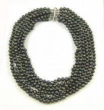 FRESHWATER BLACK PEARL NECKLACE, with 6 strands of