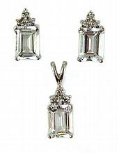 THREE ARTICLES OF AQUAMARINE JEWELRY, including a