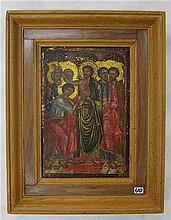 CHRISTIAN ICON, hand-painted on wood, doubting