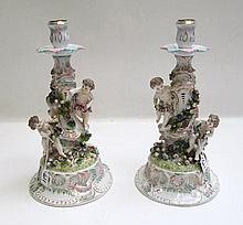 PAIR OF GERMAN PORCELAIN FIGURAL CANDLESTICKS