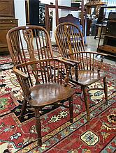 TWO YEW AND ELM WINDSOR ARMCHAIRS, English, last q
